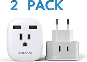 European Plug Adapter, Justcool International Travel Power Plug Adapter with 2-USB Ports 2 AC outlets for US to Most of Europe EU Spain Germany Iceland Italy (Type C) - White 2 Pack
