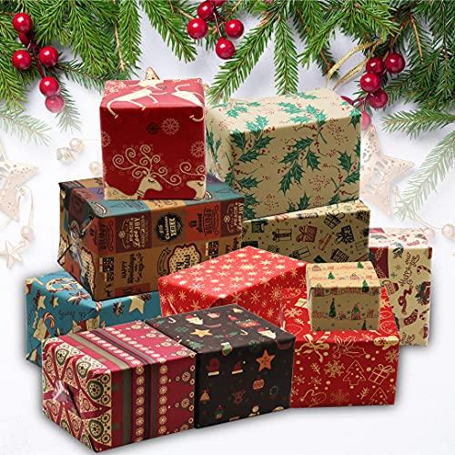 Reihipun 12PCS Navidad Papel para Regalo, 50 x 70cm Papel de Regalo Reciclable Kraft, Papel de Colores Embalaje Caja Tema Navidad Papel de Regalo, para Regalo de Fiesta Navideña