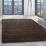 Unbekannt Shaggy Hochflor Langflor 50mm Teppich Carpet Wohnzimmer Uni Farben Rechteck R&, Farbe:Braun, Größe:80 cm R&