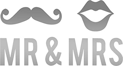 Mr And Mrs Mustache And Lips Couple ! (Metallic Silver) (Set Of 2) Premium Waterproof Vinyl Decal Stickers For Laptop Phone Accessory Helmet Car Window Bumper Mug Tuber Cup Door Wall Decoration