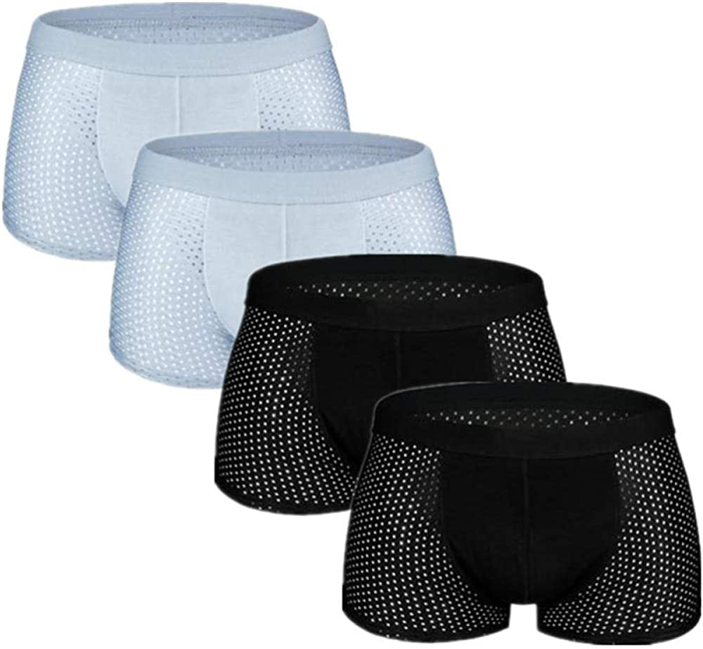 Mens Underwear 4Pcs/Lot Underwear Men'S Panties Boxers Shorts Male Underpants For Man Mesh Sexy Homme Bamboo Ice Silk Nylon Large Size 6Xl 7Xl-B_L