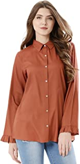 Koovs Red Shirt Neck Shirts For Women