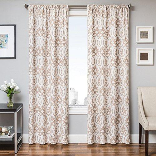 Softline Colby Premium ungefüttert Fenster Sheer/Vorhang/Panel/Behandlung mit 7,6cm Rod Tasche mit traditionellen Medaillon-Stil Muster, weiß/Gold, 139,7x 213,4cm