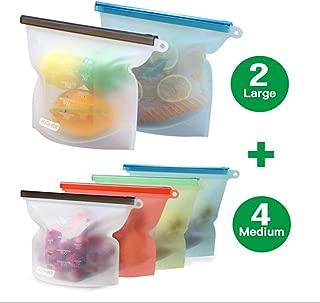 YUJOY Bolsa de Alimentos, Reutilizables Envase de Bolsas de Preservación Versátil de Grado Silicona Alimenticio para Frutas, Verduras, Sin BPA, higiénica y a Prueba de Fugas(Sef of 6) (6pcs-02)