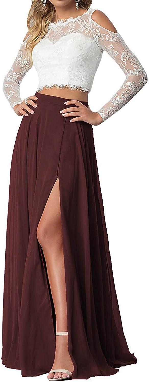 LISA.MOON Women's Jewel High Split Satin Lace Satin ALine Zipper Formal Dresses