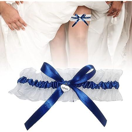 DURANTEY Giarrettiera Sposa Giarrettiera Sposa Blu e Bianca Graziosa per Matrimoni Giarrettiere Elastiche Color Blu Accessorio Tradizionale Blu da Indossare il Giorno del Matrimonio (33-66 CM)
