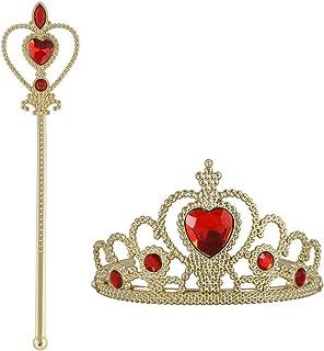 Vicloon Prinsessa utklädningstillbehör: krona, spira. Cosplay, karneval födelsedagsfest halloweenfest