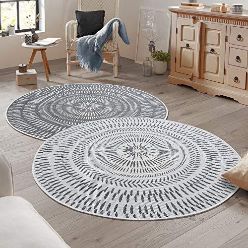 TeppichBoss Wendeteppich AMILLO In- & Outdoorteppich marokkanische Ornamente Flachgewebe modern, Farbe:grau/Creme, Größe:140 cm rund