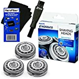 Philips Norelco SH90/62 Replacement Head for Series 8000; S8950 & Series 9000; S9311, S9321, S9511, S9531 & S9721 Electric Shavers + Double Ended Shaver Brush + HeroFiber Ultra Gentle Cleaning Cloth