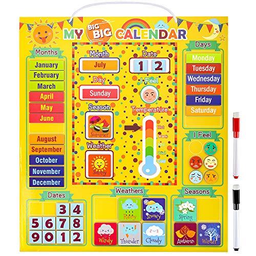 Vorschule Lernspielzeug für Kinder, Kinder Klassenzimmer Zubehör Kalender für Kinder Mädchen Alter 2 3 4 5 Jungen Wand Lehrkalender Geschenk für 2-6 Jahre alte Kinder Mädchen Homeschool Zubehör