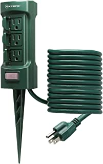 Outdoor Power Stake, Kasonic 6-Outlet Double Sided with Weatherproof Safety Flip Covers; 9 ft Extension Cord Power Strip; ETL Certified Multi-Outlets (Outdoor)
