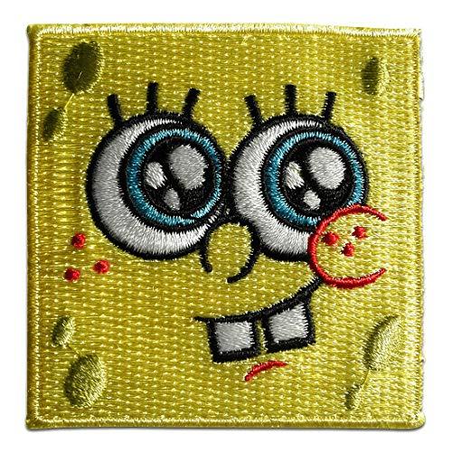 Spongebob Schwammkopf Gesicht Kinder - Aufnäher, Bügelbild, Aufbügler, Applikationen, Patches, Flicken, zum aufbügeln, Größe: 6,5 x 6,4 cm