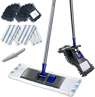 Super Absorbent Microfiber Dust Mop with Telescopic Handle with 4Pcs 360° mop head and 1Pcs Cleaning Brush for Floor cleaning