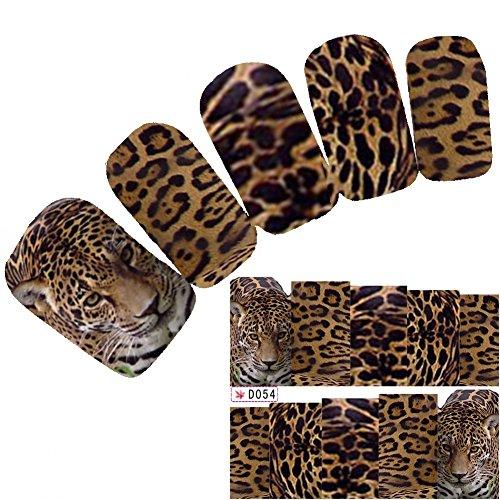 JUSTFOX - Tattoo Nail Art Aufkleber Tiger Glitzer Leopard Lion Nagel Sticker