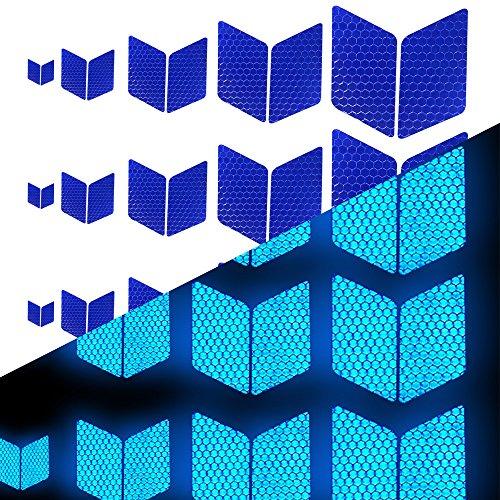 Tuqiang® Diamant-Form Reflektierendes Klebeband Wasserdicht Selbstklebend Für Fahrräder Baby's Auto Mini-Scooter's Hohe Sichtbarkeit Band Sicherheit im Freien Reflektierend Aufkleber 25 Stück Blau