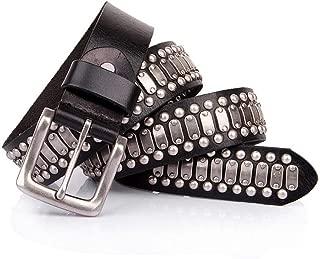 Lumeng Pin Buckle Punk Belt Black Color with Silver Unisex Leather Belt for Men Women Adults Belts Handmade Steampunk Waistband Punk Rock Blet Cool Rivet Punk Belt (Size : 105cm)