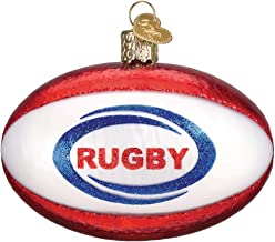 Old World Christmas Glass Blown Ornament with S-Hook and Gift Box, More Sports Collection (Rugby Ball)