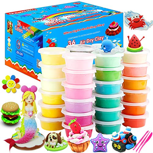ESAND Air Dry Clay, 36 Colors Modeling Clay Best Gift for Kids, Ultra Light Magic Modeling Clay with Modeling Tools and Project, No-Sticky and Non-Toxic
