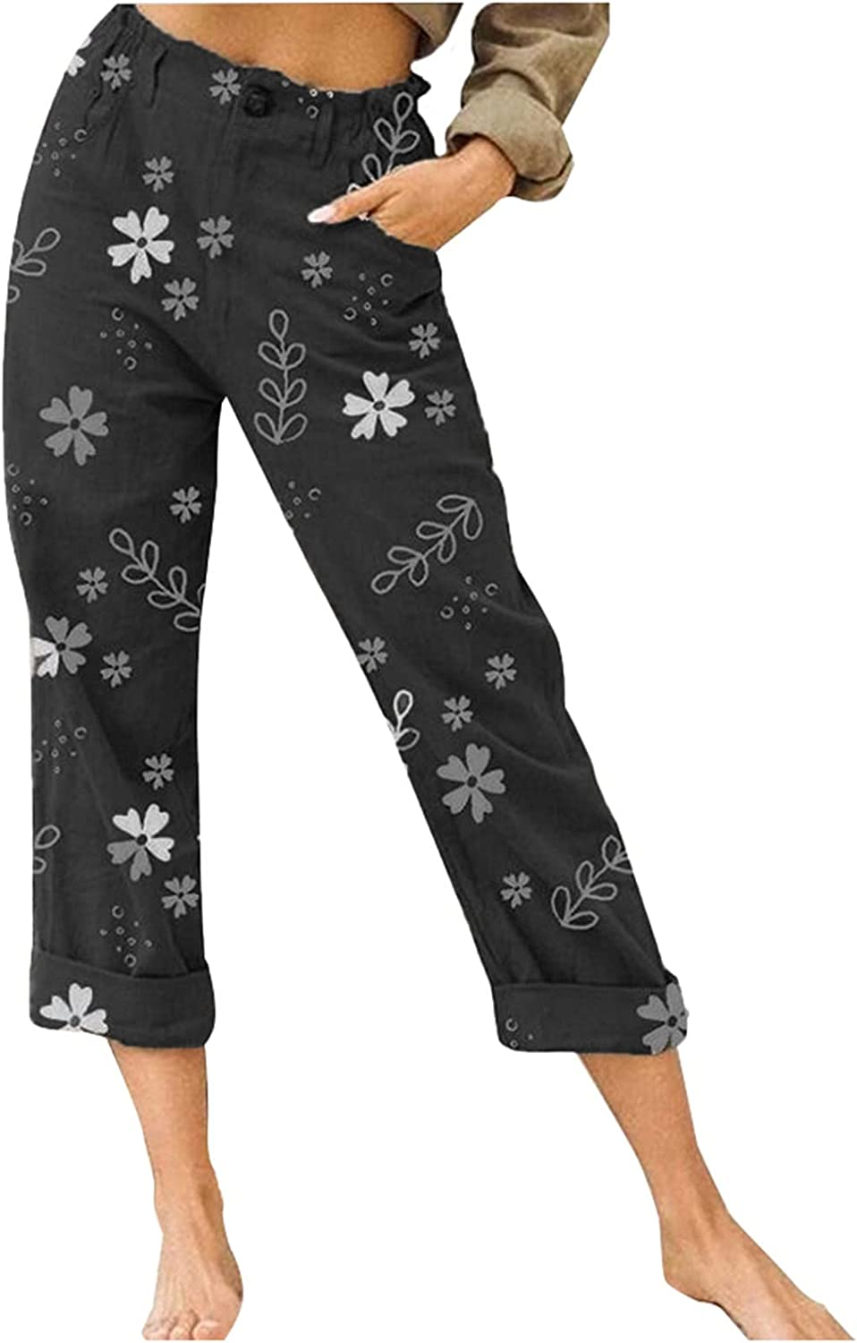 Smileyth Women Summer Cropped Pants Floral Printed Elastic Waist Pocket Loose Straight Trousers Casual Pants