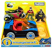 Squeeze button to light up Batmobile! Flip launcher up, then use slider to fire disks at villains! (Villains sold separately.) Robin fits on cycle—roll him along to the next crime-fighting adventure! Includes Batmobile, Cycle, Batman and Robin figure...