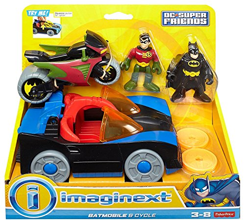 Fisher-Price Imaginext DC Super Friends, Batmobile & Cycle [Amazon Exclusive]