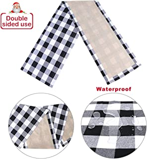 OurWarm Cotton & Burlap Buffalo Plaid Check Table Runner, Waterproof Reversible Christmas Table Runner for Christmas Table Decorations Lumberjack Party Supplies, Black and White, 14 x 72 Inches