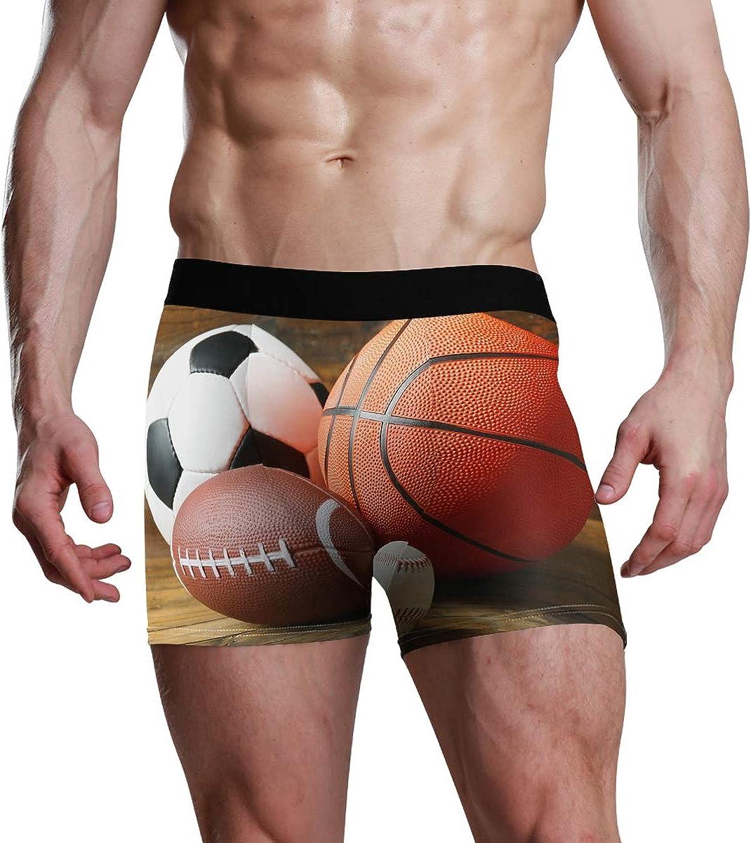 HangWang Mens Boxer Briefs American Football Baseball Basketball Trunks Underwear Bikini Boys