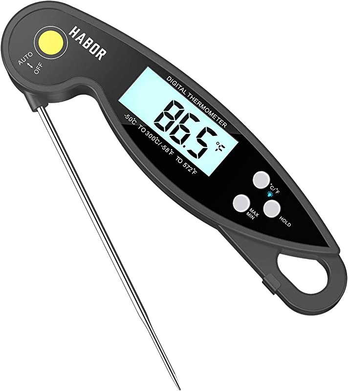 Habor Meat Thermometer Instant Read For BBQ Grilling Digital Cooking Thermometer Waterproof Food Thermometer With Backlight Reversible Display 4 6 Long Probe For Turkey Candy Oil
