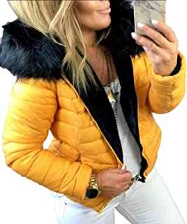 Women's Hooded Zip up Pocket Outerwear Warm Parka Jacket Quilted Puffer Coats