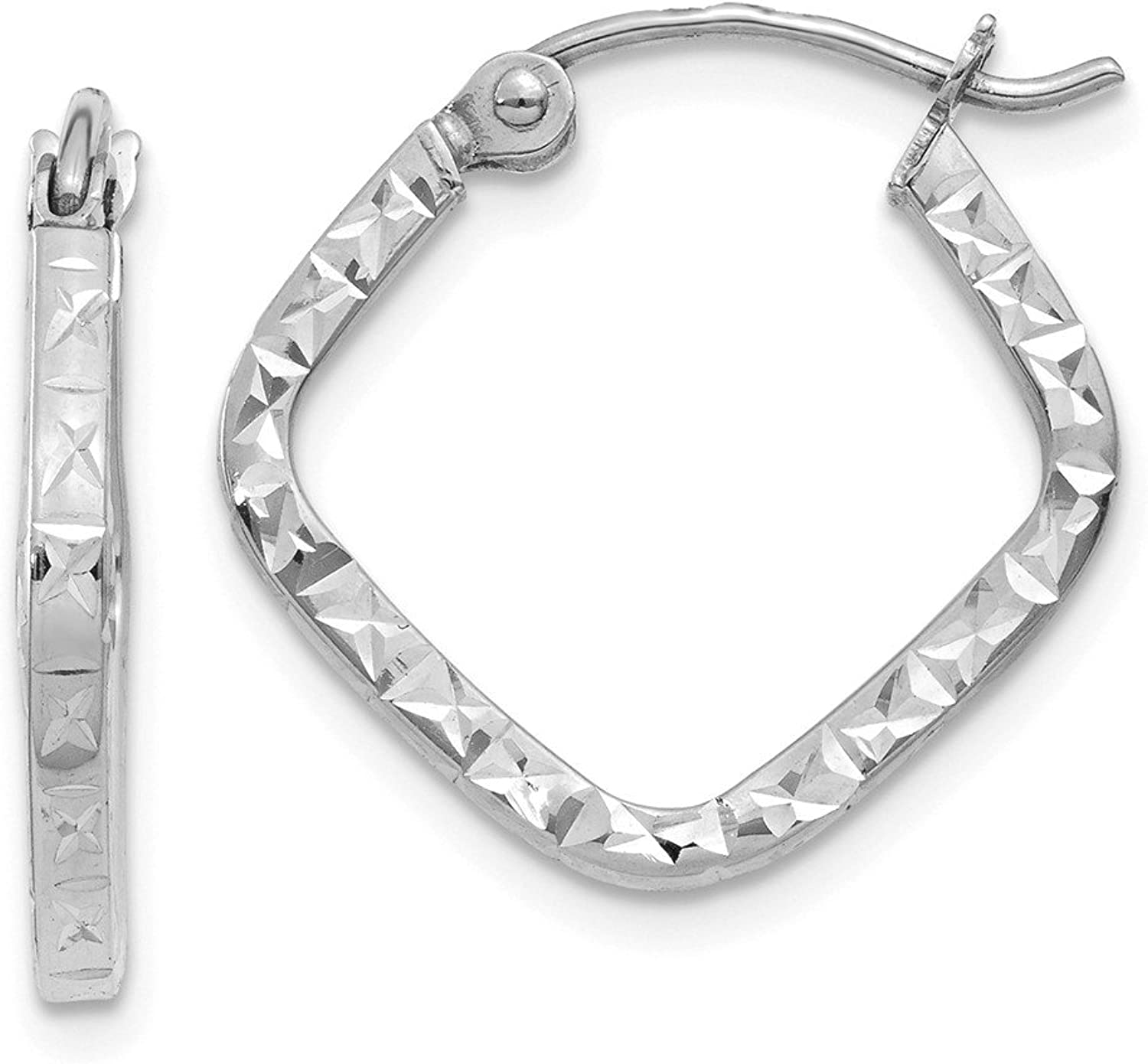 Beautiful White gold 14K 14K White gold Diamond Cut Squared Hoop Earrings