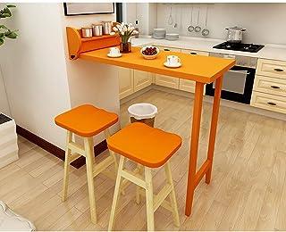 MJY Table murale murale pliante Creative Table en bois massif pour la cuisine et la salle à manger,Orange