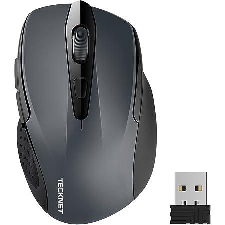 TECKNET Ratón Inalámbrico 2.4G Mouse Inalámbrico Óptico 5 Niveles 2600 dpi,6 Botones, 24 Meses Duración de Batería con Nano Receptor para Laptop, PC, Ordenador, Chromebook, Notebook