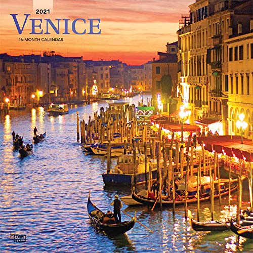 Venice 2021 12 x 12 Inch Monthly Square Wall Calendar, Scenic Travel Europe Italy