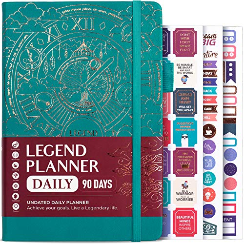 Legend Planner Daily for 3 Months - Undated Deluxe Monthly Weekly & Daily Planner to Hit Your Goals & Live Happier. Organizer Notebook & Productivity Journal. A5 Hardcover + Stickers - Viridian Green