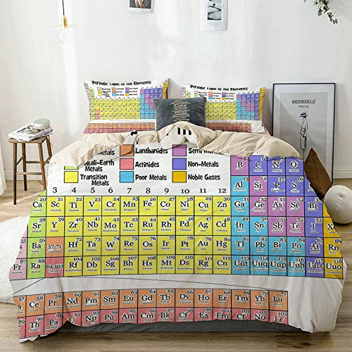 BGNHG Decorative Duvet Cover Sets Bed Sheets,Beige,Periodic Table Elements List,3 Piece Bedding Set with 2 Pillow Cases Twin Size