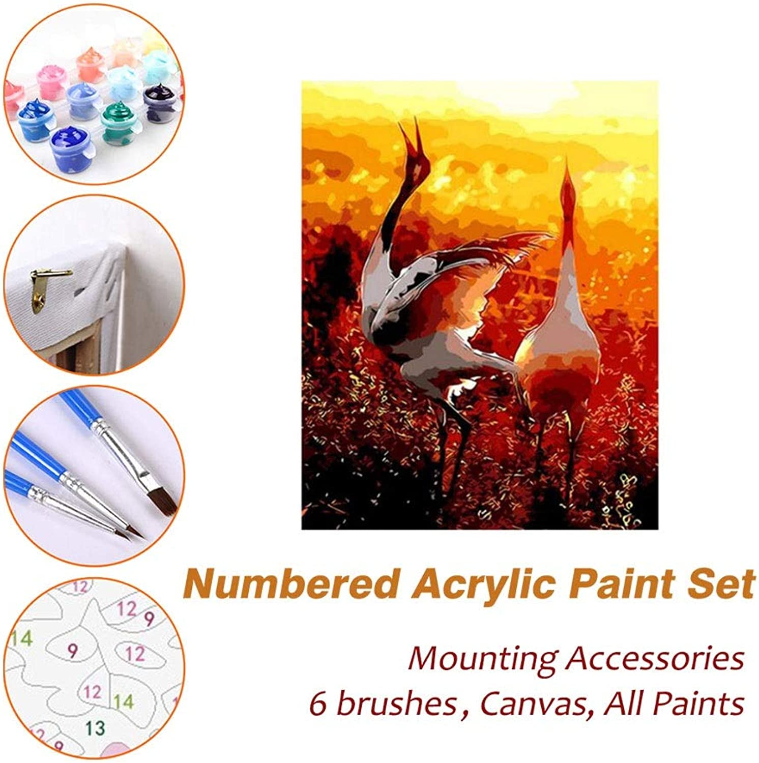 Puzzle House Paint Max Acrylic Oil Painting Paint By Numbers Kits Sets with Frame For Kids Adults Beginner Artist, Crane Sunset DIY Wall Art Picture Photography Brush Supplies 610