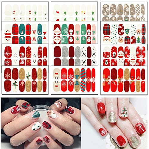 TailaiMei 12 Sheets Christmas Full Wraps Nail Polish Stickers, Self-Adhesive Nail Art Decals Strips with 2Pc Nail File, Glitter Manicure Kits for Nail Art Design
