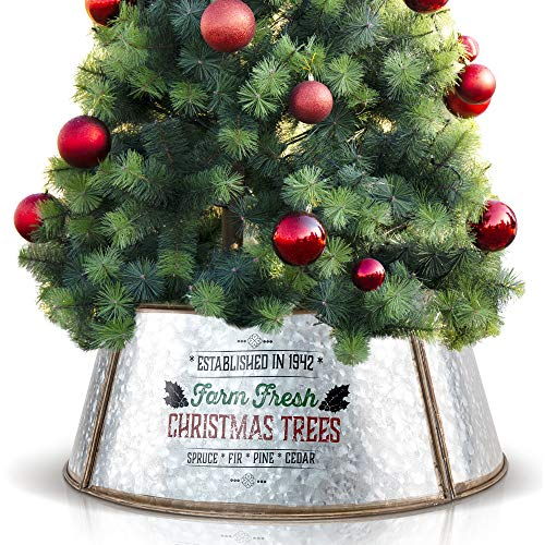 KIBAGA Farmhouse Christmas Tree Collar - Authentic Easy Set Up 23' Tree Ring for Shorter Trees and Pencil Trees - Beautiful Rustic Christmas Tree Skirt Decorates Your Home for The Holidays