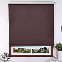 "Kayra Decor Customized Window Roller Blind Curtains (PVC, 59"" Width x 64"" Height, Dark Brown)"