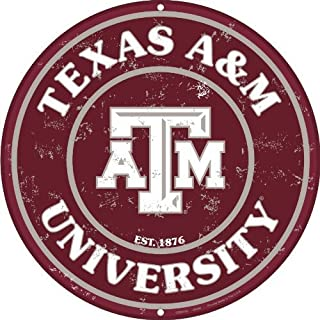 Tag City Texas A & M 12 Inch Embossed Metal Nostalgia Circular Sign