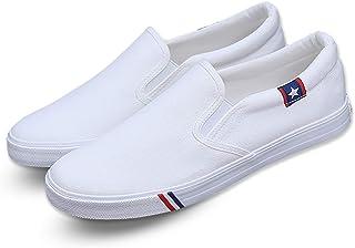 Kakkkchi A002M Unisex Canvas Slip on Fashion Loafers Mens Casual Walking Shoes White Size: 11