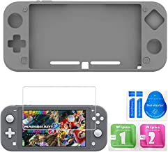 Silicone Suit for Nintendo Switch Lite,Switch Mini Game Console Protection Soft Rubber Sleeve+9H HD Tempered Glass Screen Protectors and Accessories(Gray)