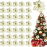 TURNMEON 36 Pack Christmas Gold Silver Glitter Poinsettia Artificial Silk Flowers Picks Christmas Tree Ornaments 4 Inch Wide for Gold Christmas Tree Wreaths Garland Holiday Decoration (Royal Gold)
