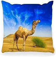 LXJ-CQ Funda de Almohada de Tiro 18x18 Camel Desert Landscape Adventure Arab Dubai Sahara Wildlife Travel Cute Dromedary East Egypt Middle Pillowcase
