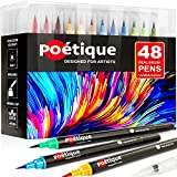 Poétique Refillable Watercolor Brush Pens 48 - Professional Watercolor Markers with Flexible Brush Tips, High Pigment Count, Real Brush Pens for Artists Coloring, Painting, Drawing and Calligraphy