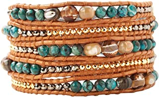 Compressed Turquoise Mix of Semi Precious Stones Leather Brown Wrap Bracelet