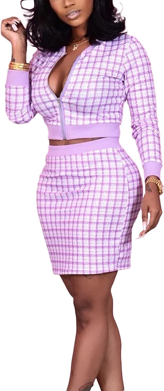 Tbahhir Women's Elegant 2 Piece Dress Sets Plaid Print Long Sleeves Zipper Suit