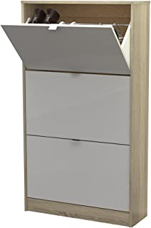 Tvilum Bright 3 Drawer Shoe Cabinet, Oak Structure/White High Gloss
