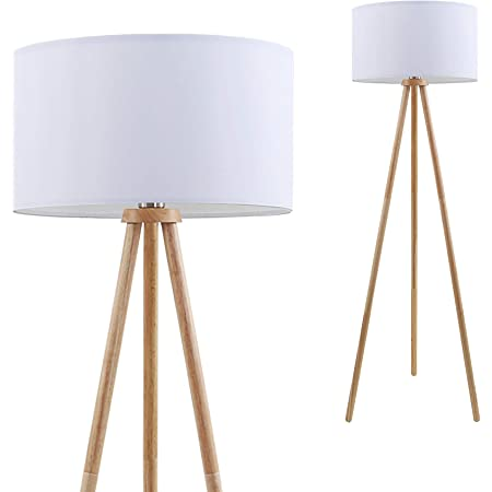Briloner Leuchten Lampadaire, Lampe de Salon, Abat-Jour en Tissu Blanc, E27, Interrupteur à Cordon Inclus