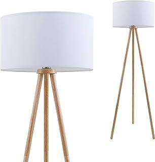 Briloner Leuchten Lámpara de cable, Pantalla de Tela en Blanco, E27, Interruptor de Cable Incluido, Madera, 60 W, 455 x 1,48mm (diám. x Altura), 455x1.480mm (DxH)